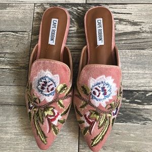 Shoes - Blush Floral Embroidered Slip on Mules